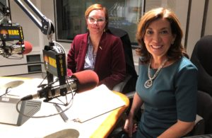 New York's Lieutenant Governor Kathy Hochul, right, speaking with Jennifer Lemak of the New York State Museum at WAMC's studios.