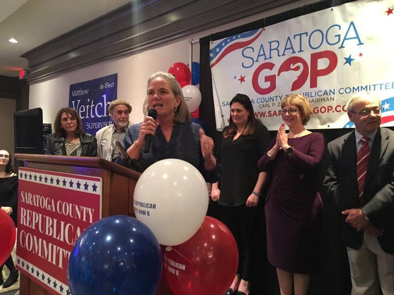 Saratoga Springs Democratic Mayor Meg Kelly speaks at Repubican headquarters on Election Night 2019