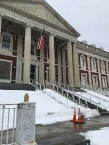 Schenectady city hall in winter