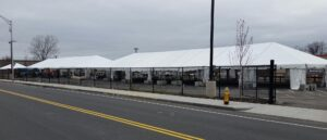 These tents in a parking lot across the street from the Friends Of the Homeless shelter in Springfield, MA will be used to test, quarantine, and treat homeless people during the pandemic.